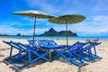 Local sunbeds on the beach thailand south of Royalty Free Stock Images
