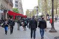 Local and tourisrs on the avenue des champs elysees paris april april is biggest most famous Stock Image