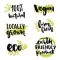 Locally grown label and vegan sign. Earth friendly product, Gmo free sticker design. Farm fresh inscription. Vector 100