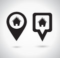 Location icon. Round and square pin pointer. Location marker symbol with house symbol