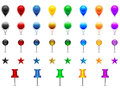Location pins set of colorful pointers stars needles speech bubbles Stock Photos