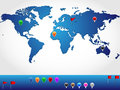 Location world map in slight d look and perspective with colorful pins and banners for pinpoint Royalty Free Stock Photography