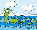 Loch ness monster floating lake amusing image Royalty Free Stock Photo