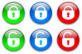Lock buttons set Stock Images