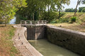 Lock on canal the du midi in france Stock Photography