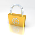 Lock with copyright symbol white bg Stock Images