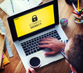 Lock Icon Password Protected Graphic Concept Royalty Free Stock Photo