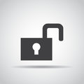 Lock icon with shadow on a gray background. Vector illustration