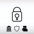 Lock icon, vector illustration. Flat design style