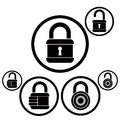 Lock icons set open and closed versions vector Royalty Free Stock Images
