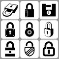 Lock icons various set illustration Royalty Free Stock Images