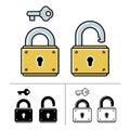 Lock and key - vector icon set