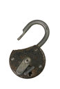 Lock a old open padlock with a key Stock Photography