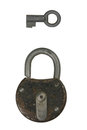 Lock a old padlock with a key Royalty Free Stock Images