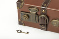 The lock on old vintage suitcase and key Stock Image