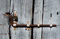 LOCK OF AN OLD WOODEN DOOR Royalty Free Stock Photo
