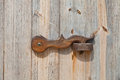 Lock on old wooden door close up view of a Royalty Free Stock Photography