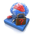 Lock with a question from the brain information related to design of intelligent questions Royalty Free Stock Photo