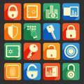 Lock safe icons business banking finance set of security protection credit circle isolated vector illustration Stock Photography