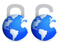 Lock and unlock globes illustration design Royalty Free Stock Image