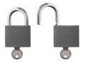 Lock unlock padlock isolated photo of locked and unlocked with key Royalty Free Stock Images