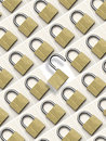 Lock unlock padlocks security background of locked with one central unlocked padlock Stock Photos