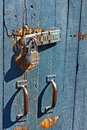 Lock on wood gate is a run down Stock Photo