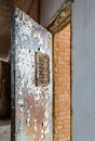 Locked barred door inside Trans-Allegheny Lunatic Asylum Royalty Free Stock Photo