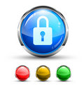 Locked Cristal Glossy Button Stock Photo