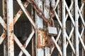 Locked door the steel old with rust was Stock Photos