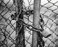Locked Fence B&W Stock Photo
