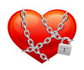 Locked heart on a white background Royalty Free Stock Images