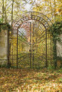 Locked iron gate in the autumn park. Vertically. Royalty Free Stock Photo