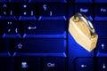 Locked padlock on a black computer keyboard Royalty Free Stock Photo