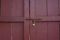 Locked red wood doors from inside Royalty Free Stock Photo