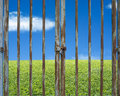Locked rusty door with beautiful landscape, green meadow blue sk Royalty Free Stock Photo