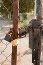 Locked steel doors. Royalty Free Stock Photo