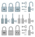 Locked or unlocked padlocks for secure web transaction collection of in different views Stock Image