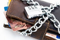 Locked wallet and credit cards Royalty Free Stock Photo