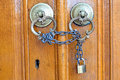Locked wooden door Royalty Free Stock Photo