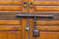Locked wooden door seen in north africa Royalty Free Stock Images