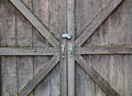 Locked wooden doors old with a padlock Royalty Free Stock Photos