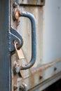 Locker securing old heavy iron door Royalty Free Stock Photo