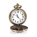 Locket clock isolated vintage gold copper pocket on white background Royalty Free Stock Photography