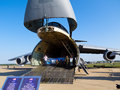 Lockheed c galaxy nose raised for loading and unloading the military transport intercontinental cargo strategic aircraft at Royalty Free Stock Photography