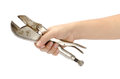 Locking pliers image of hold by hand Stock Photo