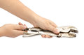 Locking pliers image of hold by hand Stock Photos