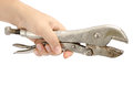 Locking pliers image of hold by hand Royalty Free Stock Images