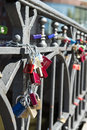 Locks on a bridge in hamburg germany editorial use only Royalty Free Stock Image