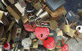 Locks on bridge of lovers many padlocks wich hang railings Royalty Free Stock Photo